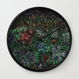 Stained Glass Garden Wall Clock