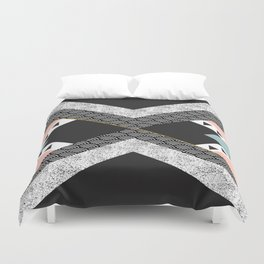 Abstract composition of textures with geometric shapes Duvet Cover