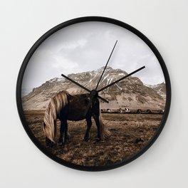 Wild Horse / Iceland Wall Clock