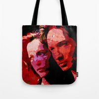 mulder Tote Bags featuring TXF - Mulder and Scully  by FandomArt