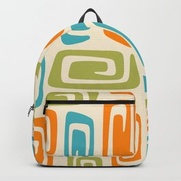 Mid Century Modern Cosmic Abstract 738 Orange Blue and Green Backpack