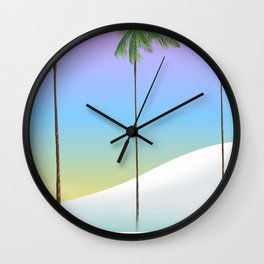 Dubai desert and palms travel poster Wall Clock