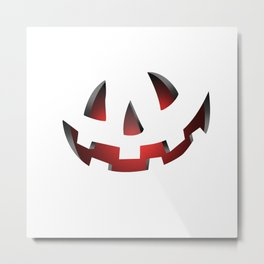 Pumpkin Head Red Metal Print