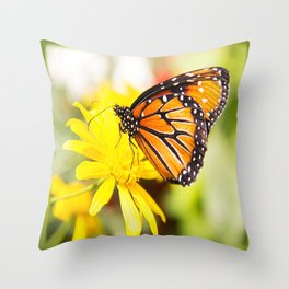 Happy Monarch Butterfly Throw Pillow