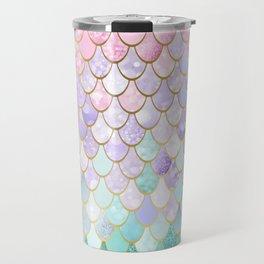Iridescent Mermaid Pastel and Gold Travel Mug