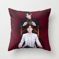kpop Throw Pillows featuring King Sunggyu by Nikittysan