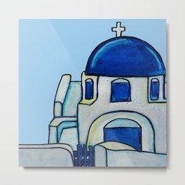 Hand Painted Watercolor Santorini Church Metal Print