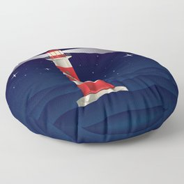 Cartoon landscape with lighthouse night sea and starry sky Floor Pillow