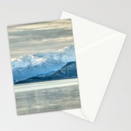 Norway Photography - Fishing Boat In A Lake In Front Of Big Mountains Stationery Cards