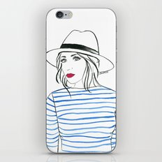Stripes & Red Lips iPhone & iPod Skin