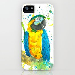 Blue & Gold Macaw - Watercolor Painting iPhone Case