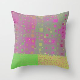 City Grid in Orchid-Lime Throw Pillow