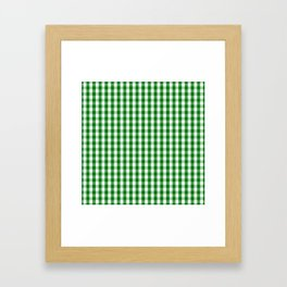 Christmas Green Gingham Check Framed Art Print