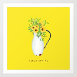 Hello Spring IV (Sunflowers in Vintage Vase) Art Print