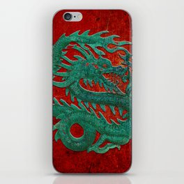 Wooden Jade Dragon Carving on Red Background iPhone Skin