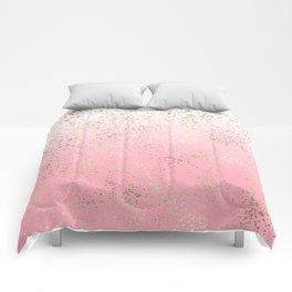 Pink White Ombre Speckled Gold Flakes Comforters