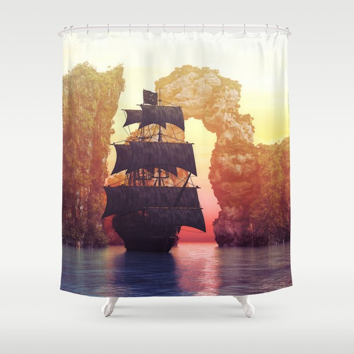 A Pirate Ship Off An Island At Sunset Shower Curtain By Simonegatterwe