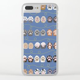 Toe Beans on Blue / Cat Paws Clear iPhone Case