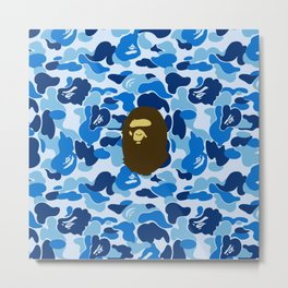 BAPE APE ON BLUE Metal Print