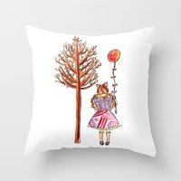 eugenia loli Throw Pillows featuring Little Loli by Adela Pakke