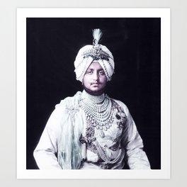 The Maharaja, Bhupinder Singh, of Patiala in the Punjab region of India, 1911 Infrared art by Ahmet Art Print