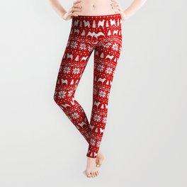 Norwegian Elkhound Silhouettes Christmas Sweater Pattern Leggings