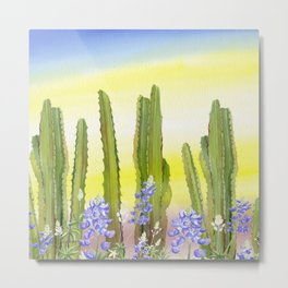 Tall Cactus and Bluebonnet Metal Print