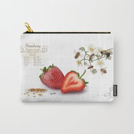 Strawberry and Pollinators Carry-All Pouch