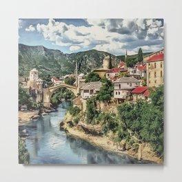 0M-021 - Mostar Old Bridge, Old city of Mostar, Stari Most Bosnia scenery, Travel art, Metal Print