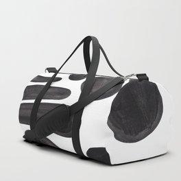Abstract Minimalist Mid Century Modern Colorful Pop Art Black Watercolor Pebbles Organic Shapes Duffle Bag