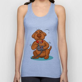 dog with joystick. Unisex Tank Top