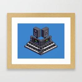 Electronic music altar — isometric pixel art Framed Art Print