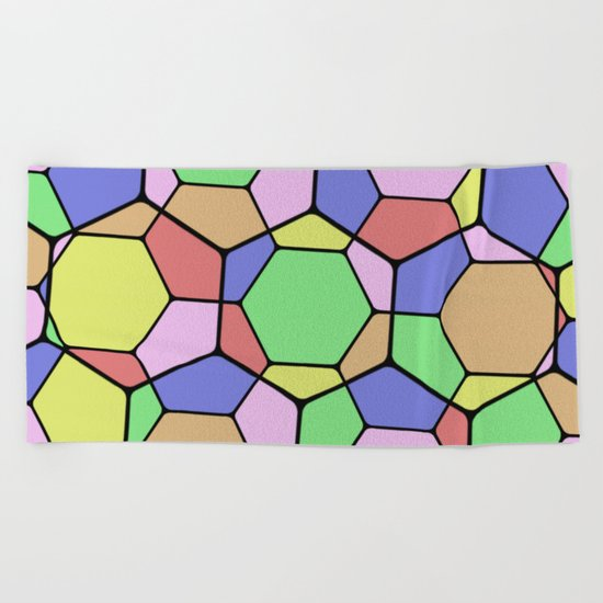 Stained Glass Tortoise Shell - Geometric, pastel, hexagon patterned artwork Beach Towel