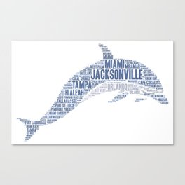 Dolphin illustrated with cities of Florida State USA Canvas Print