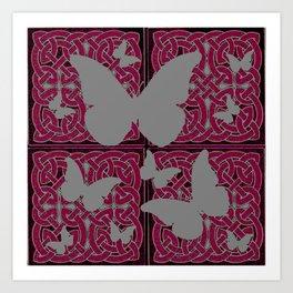 Grey Mystic Butterflies Burgundy Purple Celtic Art Art Print