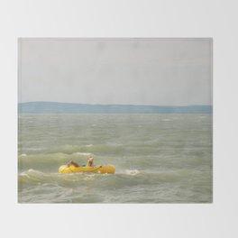 Lake Fun with Inflatable Toys Throw Blanket