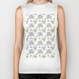 Succulents Pattern Purple and Green Biker Tank
