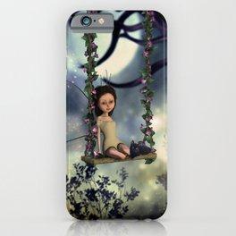 Cute little fairy with kitten on a swing iPhone Case