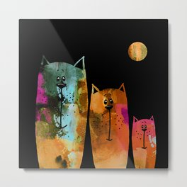 Cat Family at Night Metal Print