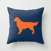 golden retriever Throw Pillows featuring Golden Retriever by Erin Rea