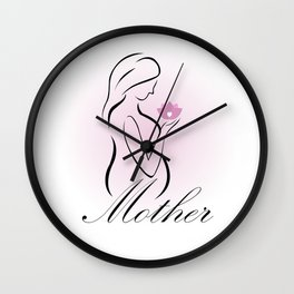 Pregnant mother holding a pink lotus flower- mom to be Wall Clock