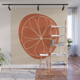 Daisy Line Abstract - Red Wall Mural