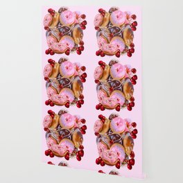 RED CHERRIES & PINK-CHOCOLATE FROSTED DONUTS Wallpaper