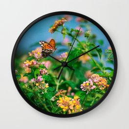 Hawaiian Flowers & Butterfly (2) | Hawaii Tropical Nature Coastal Travel Photography Print Wall Clock