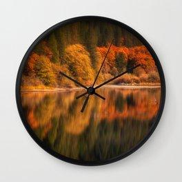 Natures Mirror reflecting Fall colors Wall Clock