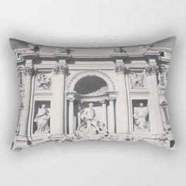 Trevi Fountain, black & white photography of Rome, fine art architecture, italian architectural love Rectangular Pillow