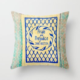 Pride and Prejudice Book in Yellow Throw Pillow