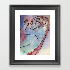 woman with long red hair Framed Art Print