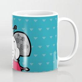 Doodle Elephant on Blue Background Coffee Mug