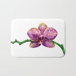Watercolor image of purple orchid Bath Mat